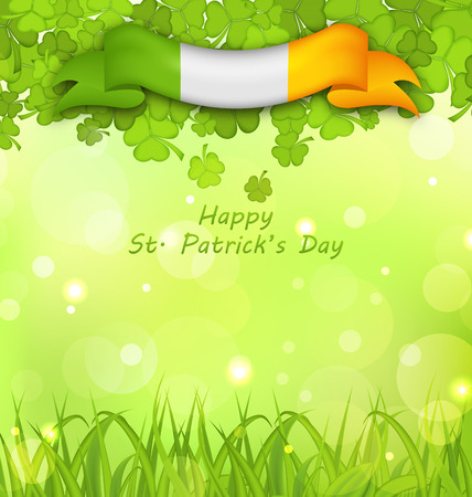 17th march: Illustration Glowing Nature Background with Clovers, Grass and Irish Flag for St. Patricks Day - Vector