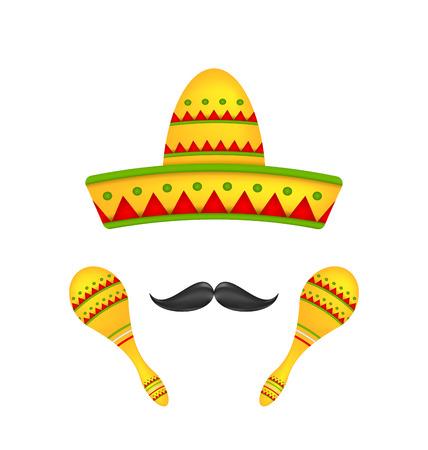 Ilustración Símbolos Sombrero mexicano Sombrero, Maracas musicales, bigote. Coloridos objetos aislados sobre fondo blanco - vector