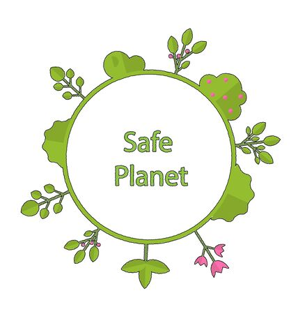 sustain: Drawing doodle frame in form circle green earth on surface tree, plant, flower and bush intro cry text safe planet - vector