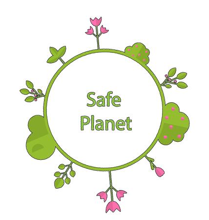 intro: Drawing doodle frame in form circle green earth on surface tree, plant, flower and bush intro cry text safe planet - vector