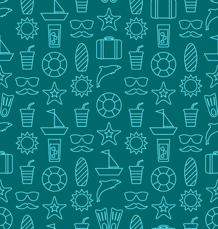 vocation: Illustration Seamless Texture with Hand Drawn Vocation Objects and Icons. Summer Pattern. Outline Style - Vector