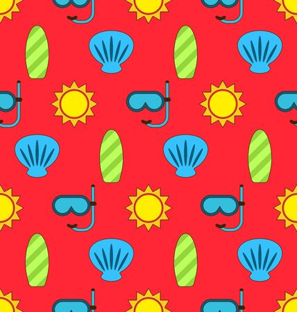 diving board: Illustration Colorful Seamless Wallpaper or Background with Icons Of Sun, Surf Board, Sea Shell, Diving Mask. Summer Pattern - Vector