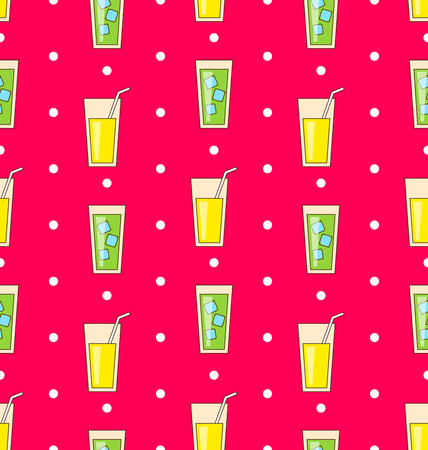 alcohol drinks: Illustration Colorful Seamless Pattern or Background with Icons Of Alcohol Drinks and Cocktails - Vector
