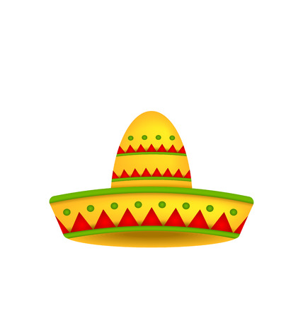 mexican background: Illustration Mexican Hat Sombrero Isolated on White Background. Symbol of Mexico - Vector Illustration