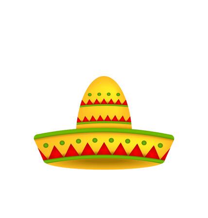 sombrero de charro: Ilustración del sombrero mexicano del sombrero aisladas sobre fondo blanco. Símbolo de México - Vector Vectores