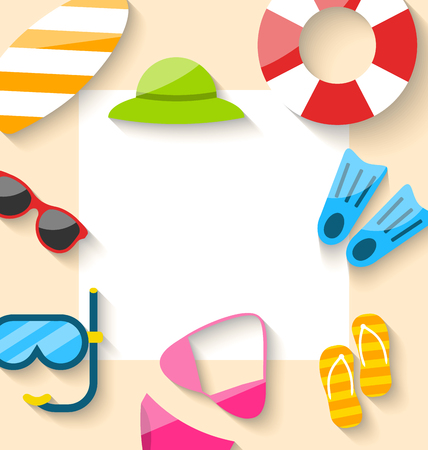swimsuit: Illustration Summer Traveling Card with Beach Elements, Copy Space for Your Text - Vector