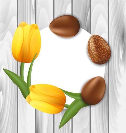 pascua: Illustration Greeting Card with Easter Chocolate Ornamental Eggs and Yellow Tulips Flowers on Wooden Background - vector Illustration