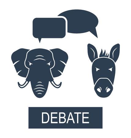 democrats: Illustration Concept of Debate Republicans and Democrats. Donkey and Elephant as a Symbols Vote of USA - Vector