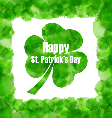 17th: Illustration Happy Saint Patricks Day Watercolor Background with Clover - Vector