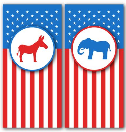 Illustration Banner mit Esel und Elefant als Symbole Abstimmung von USA. Politische Parteien Vereinigte Staaten - Vektor