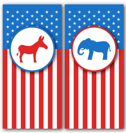 Illustration Banners with Donkey and Elephant as a Symbols Vote of USA. United States Political Parties - Vector Illustration
