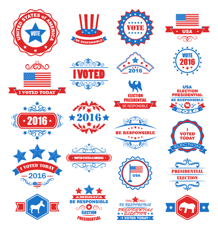 voted: Illustration Objects and Symbols for Vote of USA. Set Typographic Elements, Modern Labels, Frames, Ornaments - Vector