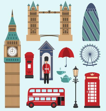 group travel: Illustration London,United Kingdom Flat Icons. Collection of England Colorful Symbols. Group of Travel Icons - raster Stock Photo