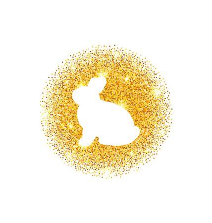 eastertide: Illustration Abstract Happy Easter Golden Glitter Rabbit. Easter Shining Template Design - raster Stock Photo