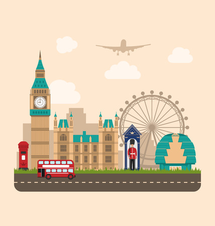wheel guard: Illustration Design Poster for Travel of England. Urban Background. Concept of Travel and Tourism Banner. Famous Landmarks. Vintage Style - raster