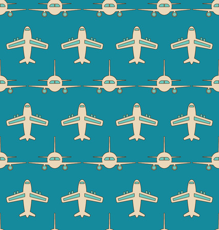 airliner: Illustration Seamless Background with Flying Transports. Plane, Jet, Airplane, Aircraft, Airliner, Aeroplane - raster