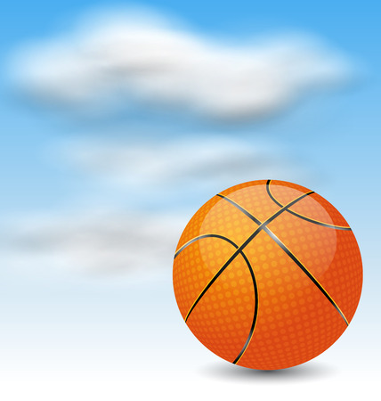 pimples: Illustration Basketball Ball on Cloudy Sky Background - raster Stock Photo