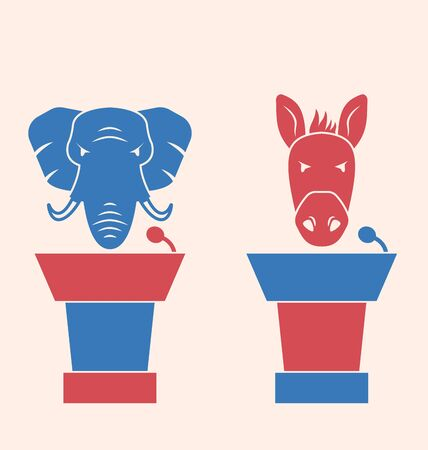orators: Illustration Concept of Debate Republicans and Democrats. Donkey and Elephant as a Orators Symbols Vote of USA. Retro Style Design - raster Stock Photo