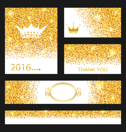 gleam: Illustration Collection of Gleam Cards. Decorative Golden Surfaces - raster