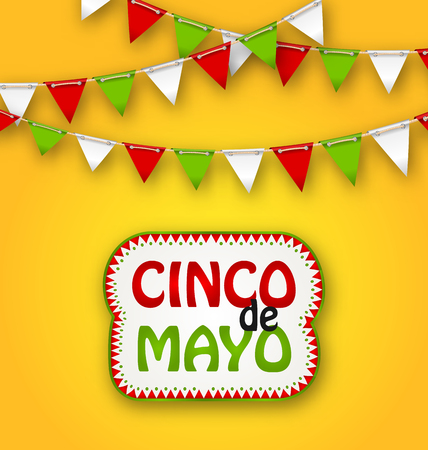 Illustration Cinco De Mayo Holiday Bunting Background. Mexican Poster - raster Banco de Imagens