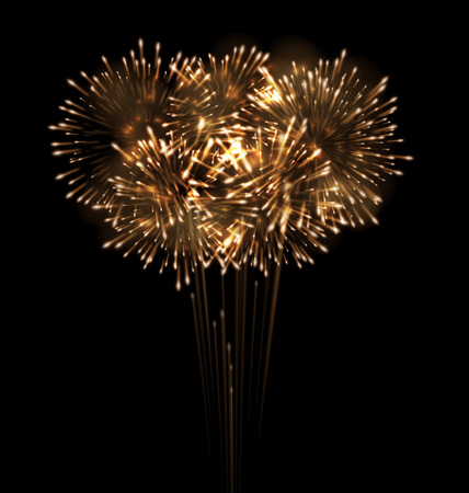 grandiose: Illustration Festive Grandiose Firework Explode Bursting Sparkling on Black Background - raster Stock Photo