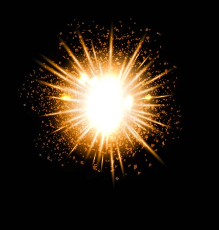 golden light: Explosion fireworks powerful golden dust party bright ray - vector