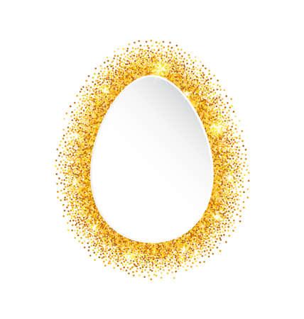 ostern: Illustration Abstract Happy Easter Golden Glitter Egg. Gold Sparkles on White Background - raster