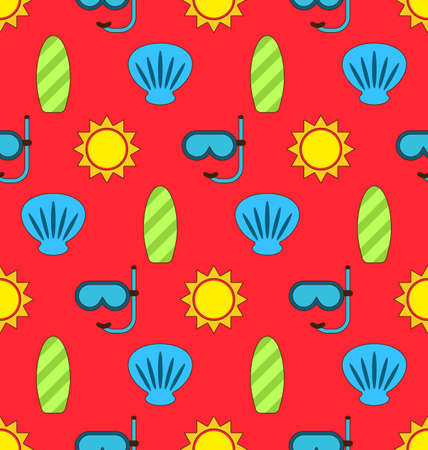 diving board: Illustration Colorful Seamless Wallpaper or Background with Icons Of Sun, Surf Board, Sea Shell, Diving Mask. Summer Pattern - raster Stock Photo