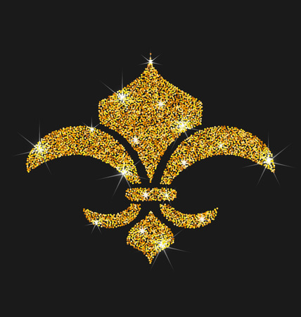 royal french lily symbols: illustration Icon of Fleur de Lis with Glitter Surface. Shimmering Object on Black Background - raster Stock Photo