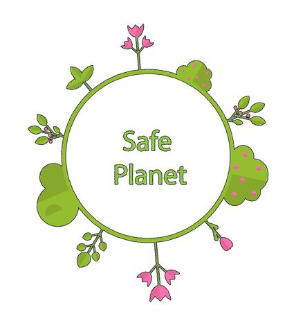 intro: Drawing doodle frame in form circle green earth on surface tree, plant, flower and bush intro cry text safe planet - raster Stock Photo