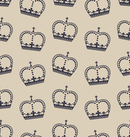 royal family: Illustration Seamless Wallpaper Representing the Crown of the British Royal Family. Retro Background - raster