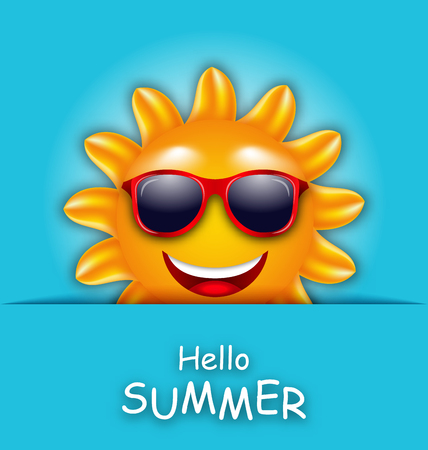 laughing face: Illustration Cool Summer Sun in Sunglasses, Beautiful Card - raster Stock Photo