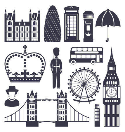 telephone box: Illustration Silhouette Symbols of Great Britain Kingdom, Big Ben, Tower Bridge, Queen, Queens Guard, Crown, Wheel, Bus, Telephone Box, Post Box, Umbrella, Isolated on White Background - raster Stock Photo