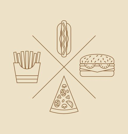 elements for logo: Illustration Design elements for Logo of Fast Food, Icons of Hand Drawn, Linear Style - raster Stock Photo
