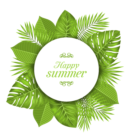 philodendron: Illustration Natural Card with Green Tropical Leaves. Happy Summer - raster