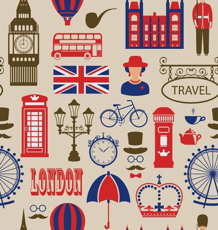 telephone box: Illustration Old Seamless Texture of Silhouettes Symbols of Great Britain, Big Ben, Queen, Queens Guard, Crown, Wheel, Bus, Telephone Box, Post Box, Umbrella. Vintage Wallpaper - raster