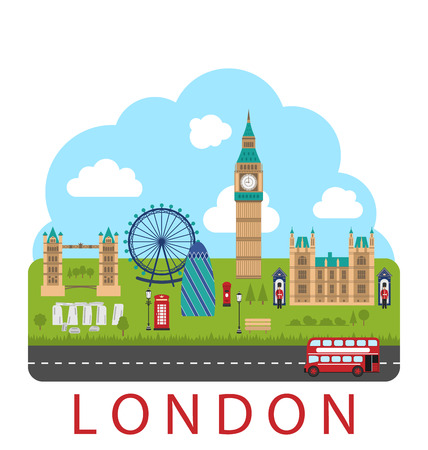 kindom: Illustration London, England. Urban Background. Concept of Travel and Tourism Banner - Vector