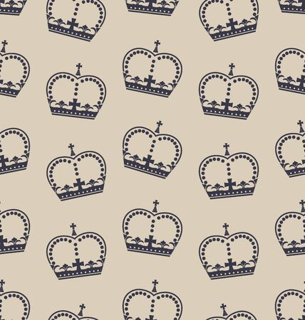 royal family: Illustration Seamless Wallpaper Representing the Crown of the British Royal Family. Retro Background - Vector Illustration