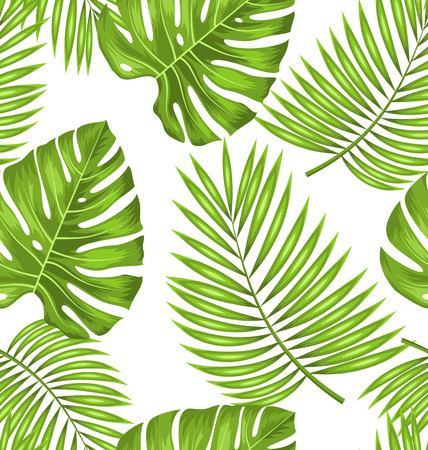 fabric swatch: Illustration Seamless Wallpaper with Green Tropical Leaves for Fabric Swatch, Summer Beautiful Texture - Vector
