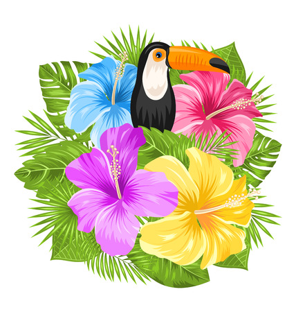 tucan: Illustration Beautiful Exotic Jungle Background with Toucan Bird, Colorful Hibiscus Flowers Blossom and Tropical Leaves, Isolated on White Background - Vector Illustration