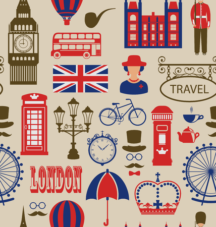 telephone box: Illustration Old Seamless Texture of Silhouettes Symbols of Great Britain, Big Ben, Queen, Queens Guard, Crown, Wheel, Bus, Telephone Box, Post Box, Umbrella. Vintage Wallpaper - Vector Illustration