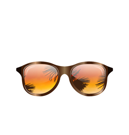 eyewear fashion: Illustration Sunglasses with Palms Reflection, Isolated on White Background - Vector Illustration