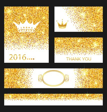 golden  gleam: Illustration Collection of Gleam Cards. Decorative Golden Surfaces - Vector