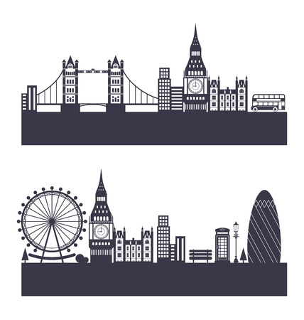abstract london: Illustration Silhouette Background of Abstract London Skyline - Vector