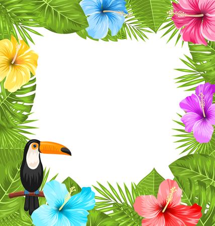 オオハシ鳥、カラフルなハイビスカス花が咲いて、トロピカルの葉っぱのイラスト エキゾチックなジャングルのフレームは、テキスト - ベクトルの