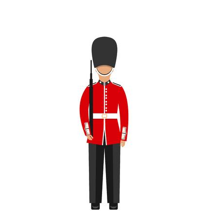Illustration Abdeckung der Königin. Mann in der traditionellen Uniform mit Waffe, Britischer Soldat, isoliert auf weißem Hintergrund - Vektor