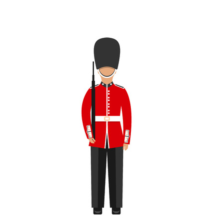 bearskin hat: Illustration Queens Guard. Man in Traditional Uniform with Weapon, British Soldier, Isolated on White Background - Vector