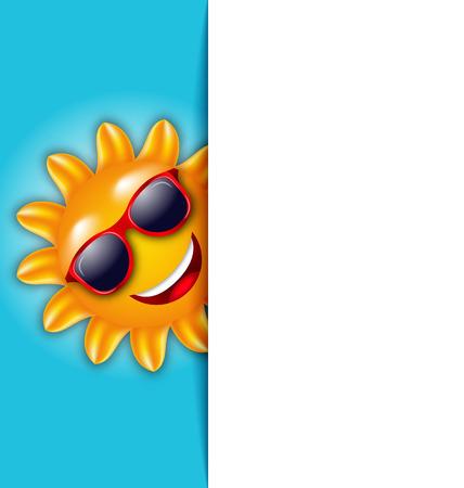 Illustration Clean Card with Cartoon Character Sun in Sunglasses - Vector Ilustração