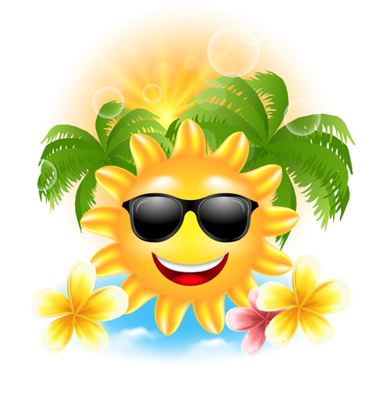 summertime: Illustration Summer Funny Background with Happy Smiling Sun, Palms, Flowers Frangipani - Vector Illustration