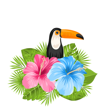 tucan: Illustration Beautiful Exotic Nature Background with Toucan Bird, Colorful Hibiscus Flowers Blossom and Tropical Leaves, Isolated on White Background - Vector